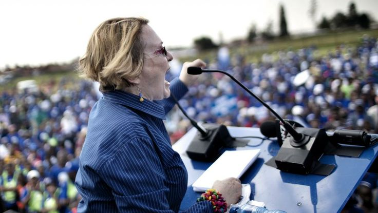 Democratic Alliance (DA) leader Helen Zille addresses supporter gathered in Soweto's Jabulani district on April 12, 2014. Brief scuffles occurred when DA supporters marched in front of houses where residents are supporting the ANC government. AFP PHOTO/MARCO LONGARI