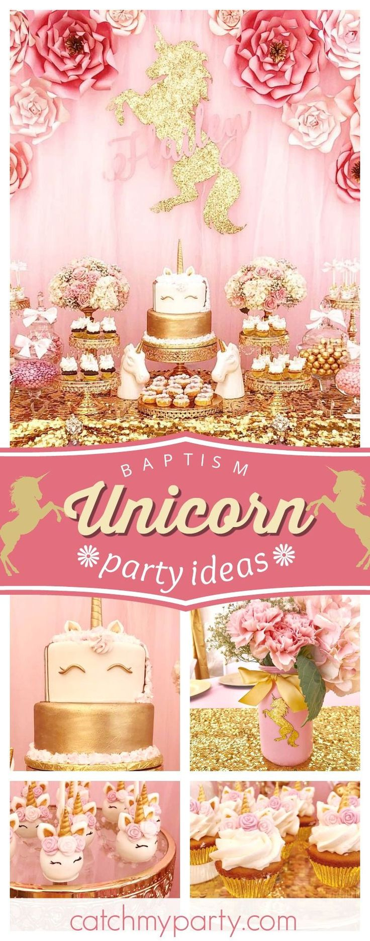 Don't miss this magical Unicorn Baptism celebration! The dessert table is gorgeous!! See more party ideas and share yours at CatchMyParty.com #catchmyparty #unicornparty #baptism