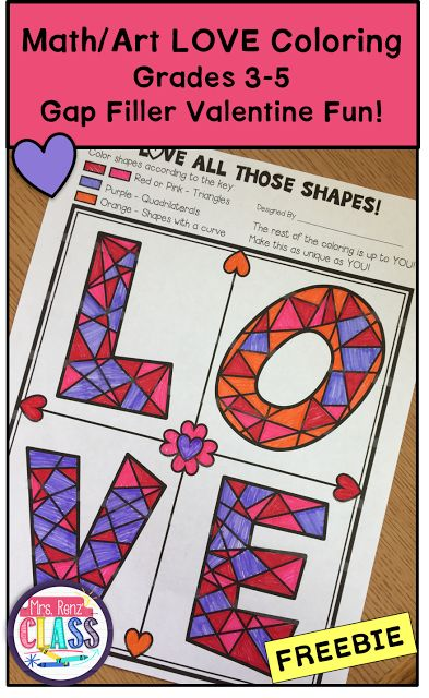 Valentine Art. Valentine Math Freebie.  Great time filler. Mrs. Renz Class.