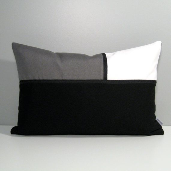 Modern Black, White & Grey Pillow Cover sewn in Sunbrella's line of Indoor Outdoor fabrics. Colorfast, stain resistant and machine washable - how easy is that?! #mazizmuse #SunbrellaPillows