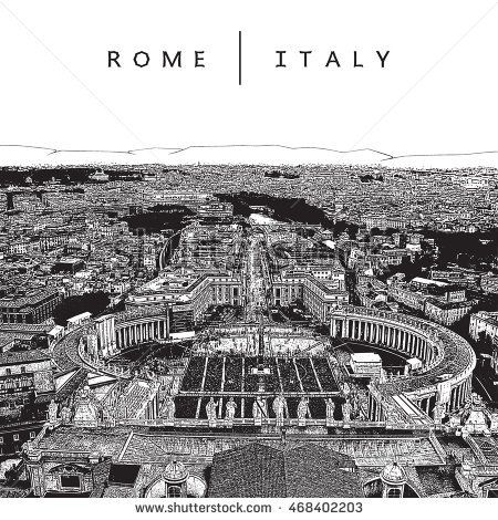 Famous panoramic view of Rome, Italy. Vector illustration.  EPS 10. The image reworked after Auto-Trace for easy editing.