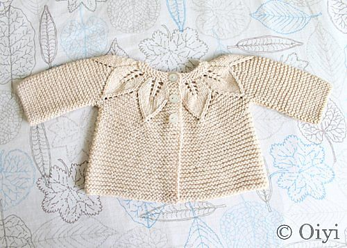 Picture from Ravelry, Organic Leaf Cardigan by Jeannine LaRoche