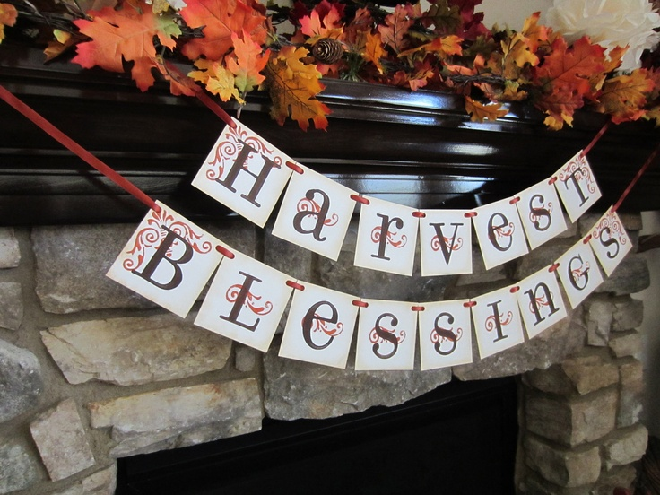 Harvest Blessings Thanksgiving Sign / Banner / Garland. $30.00, via Etsy.Thanksgiving Signs, Autumn Equinox, Thanksgiving Ideas, Fall Decor, Fall Time, Diy Fall, Blessed Thanksgiving, Happy Fall, Harvest Blessed