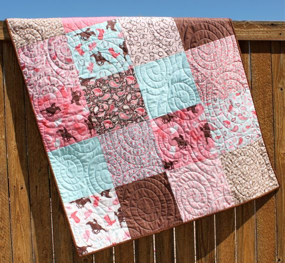 Aqua Pink Western Baby Girl Quilt Cowgirl bedding by JennyMsQuilts