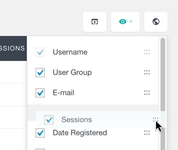 List of all of the available WordPress users fields in the Users Insights table.