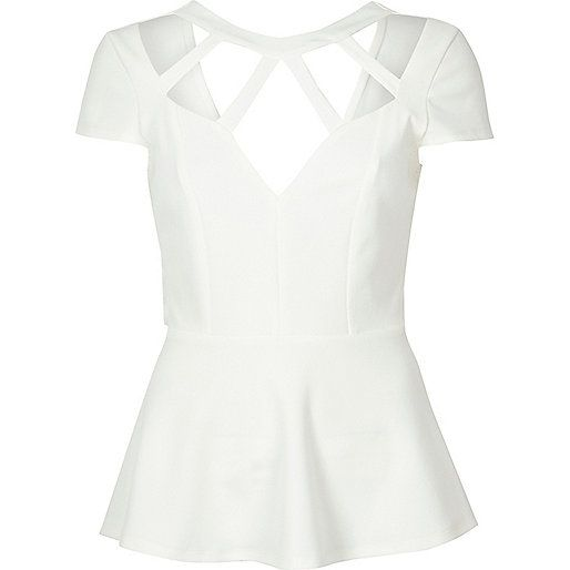 Soft crepe Cross strap neckline Short sleeve Peplum design Dipped back