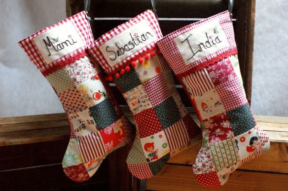 Personalised Patchwork Christmas Stockings via Emily Carlill