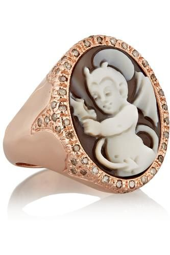 Rose gold-plated, sardonyx shell and diamond devil cameo ring #mediumring #women #covetme