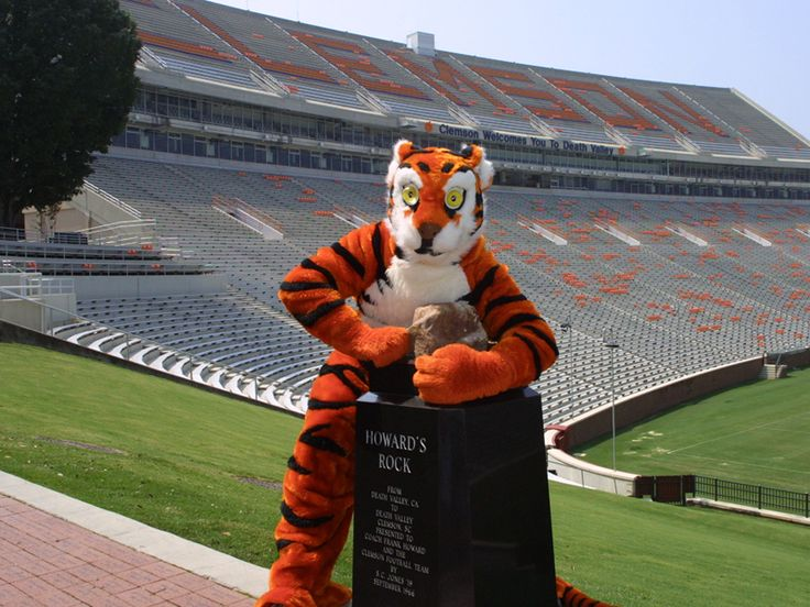 Clemson mascot with Howard's Rock