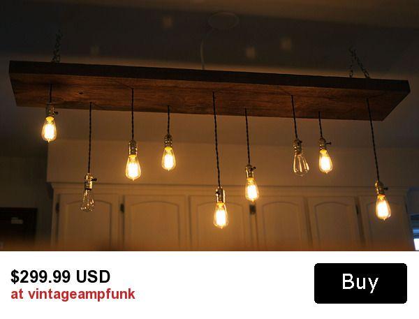 9 Bulbs Edison chandelier Salvage lumber wood light vintage Industrial, Antique Edison Bulb, Lamp, Rustic Lighting