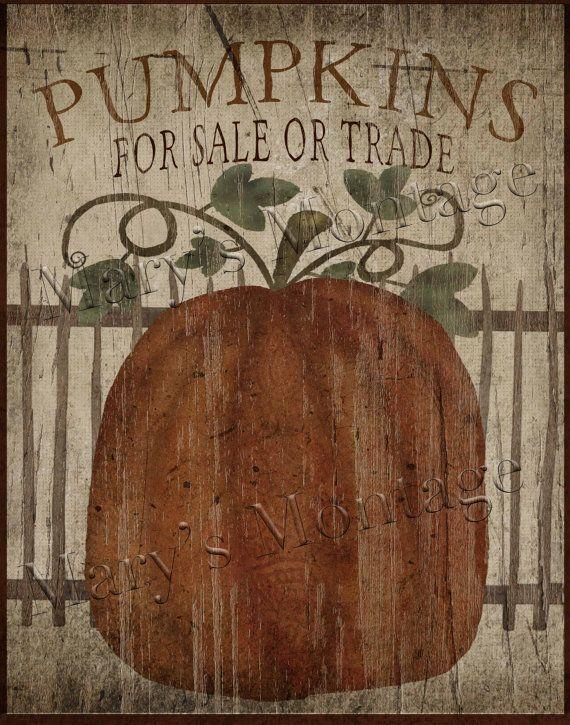 Pumpkins for Sale Primitive Folk Art  Printable 8x10