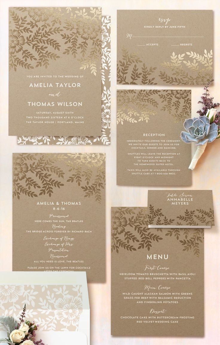 Leaves and kraft paper foil-pressed Save the Date, wedding invitations, and programs from Minted.