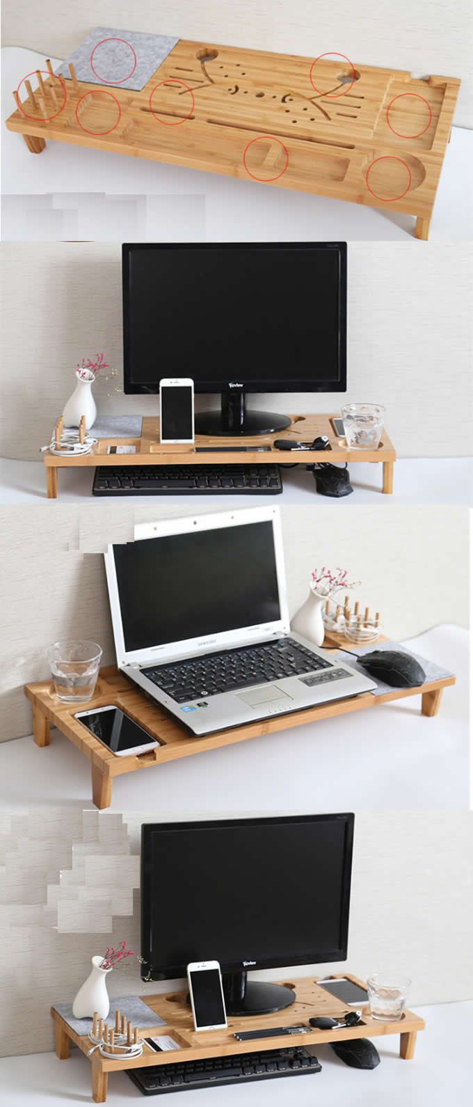 Wood Monitor Imac Stand Stationery Office Desk Organizer Pen Pencil Holder Ipad Cell Phone Cha Desk Organization Diy Desk Organization Office Desk Organization