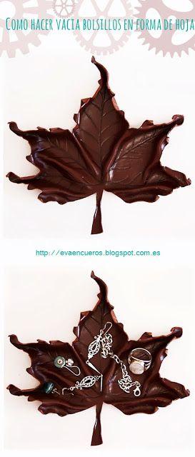 Como hacer un vacia bolsillos de cuero en forma de hoja. How to make a leather leaf.