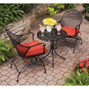 Better Homes and Gardens Clayton Court 3-Piece Motion Outdoor Bistro Set, Red, Seats 2