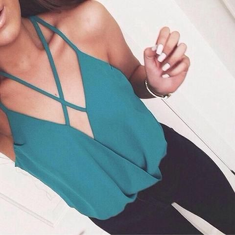 Deep V-Neck Solid color Shirt Top Tee