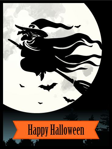 flying witch halloween card as the full moon hangs low and bright a witch - What To Say In A Halloween Card