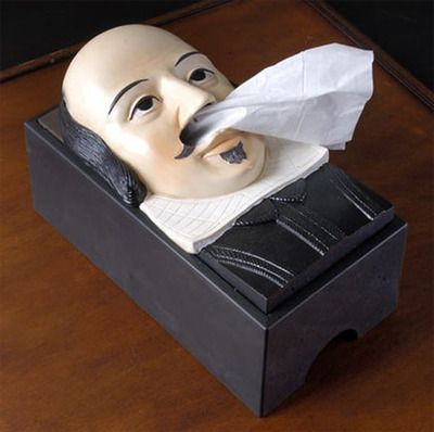 Shakespeare Tissue Box Cover - I'm not sure if this is cool or creepy. What do you think?