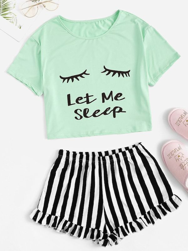 b61bc84cf8 Eye and Letter Top & Ruffle Striped Shorts PJ Set | SHEIN | II ...