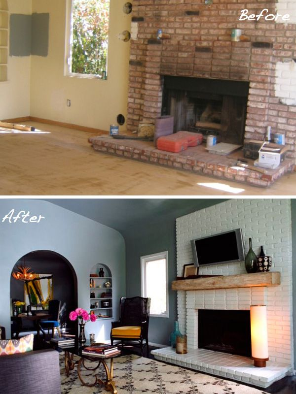 the coziest makeovers in town painted brick fireplaces fireplaces and before and after pictures. Black Bedroom Furniture Sets. Home Design Ideas