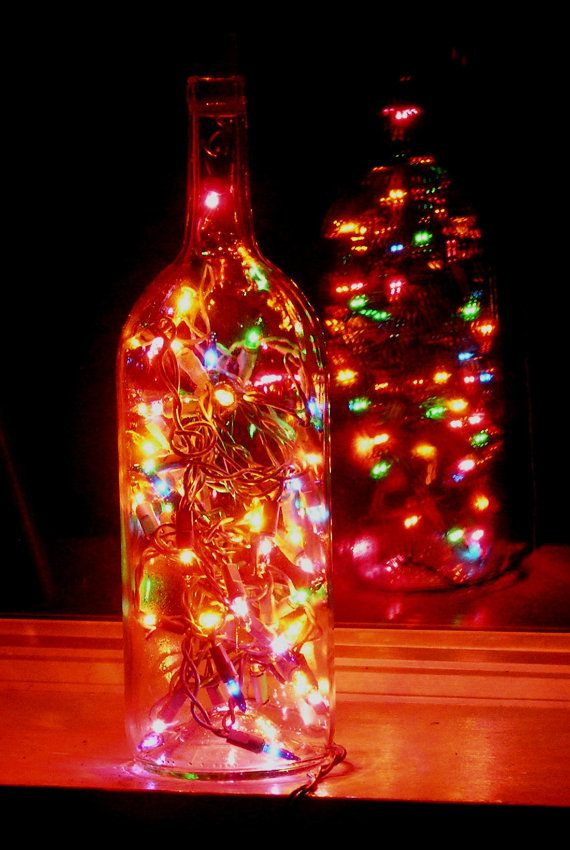 Wine bottle light... great patio lights idea for summer....Great for holiday light, centerpiece, weddings, deck light, or night-lite.