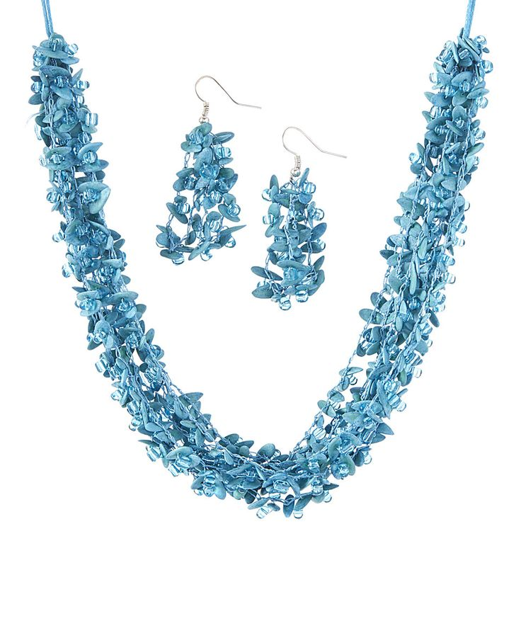 Aqua Cantaloupe Seed Lluvia de Colores Necklace Set by Colombian Girl Jewelry #zulily #zulilyfinds