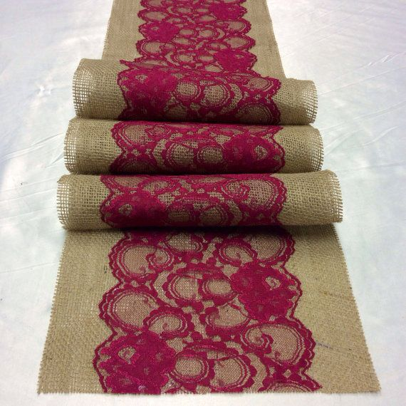 6ft Burlap Lace Table Runner with Burgundy/Wine Lace, 10in Wide x 76in  long, Vintage, Burgundy Wedding Decor, Navy Weddings