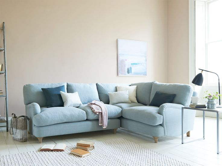 Jonesy corner sofa in our Sea Salt vintage linen
