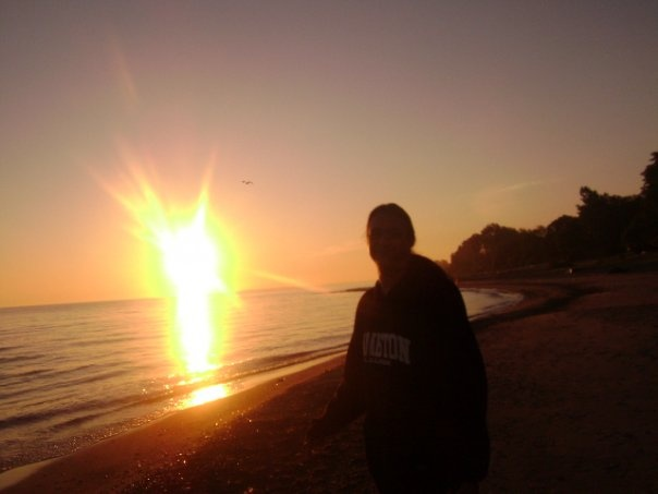 Me on the private beach at sunset, Murphy Beach, Sarnia