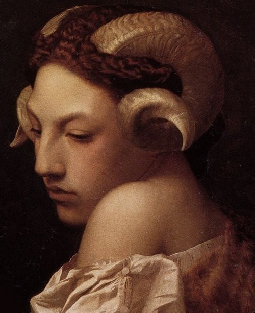 head of a woman with the horns of a ram (gérôme), mexican model andrea carrazco