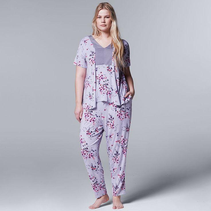 Plus Size Simply Vera Vera Wang Pajamas: Evening Oasis Short Sleeve Top & Pants PJ Set, Women's, Size: 1XL, Med Grey