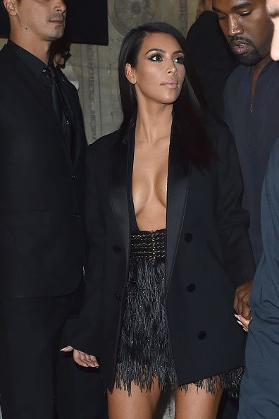 Kim Kardashian arrives at Lanvin Fashion Show during Paris Fashion Week, Womenswear SS 2015