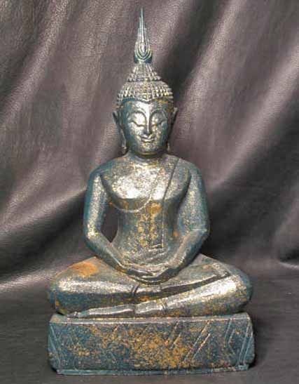 Hand carved Teal Gold Monkey Pod Wood Samadhi Sukhothai DhyAna Mudra Thai Buddha