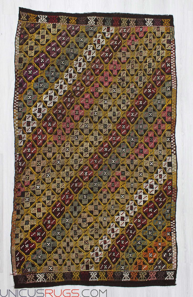 """Handwoven vintage kilim rug from Denizli region of Turkey. In good condition. Approximately 45-55 years old. Width: 5' 5"""" - Length: 9' 1"""" Embroidered Kilims"""