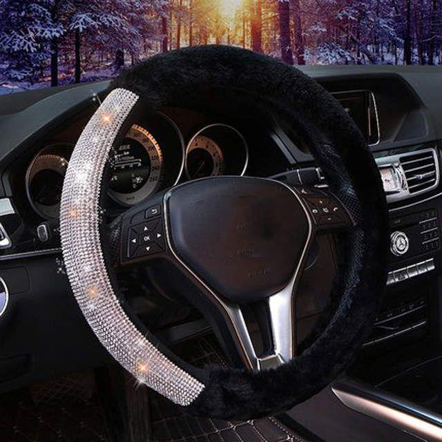 A-Wine red Cxtiy Universal Car Steering Wheel Cover Fluffy Winter Plush Steering Wheel Cover
