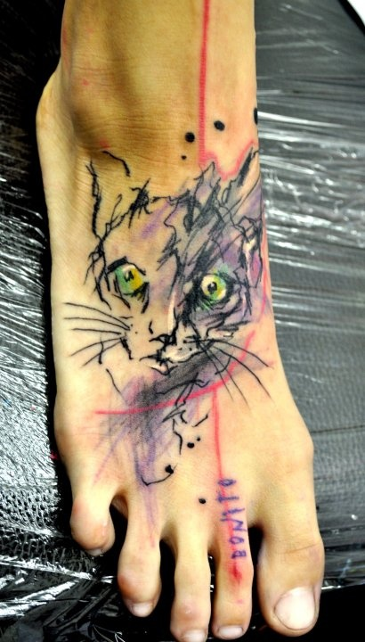 422 best images about foot tattoos on pinterest west for Bad cat tattoo