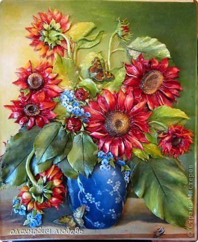 Картина панно рисунок 8 марта Лепка Подсолнухи Тесто соленое Фарфор холодный фото 1