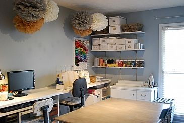 MDF shelves provide lots of easy access storage.  The tissue paper pompoms help soften and add some pretty to  the utilitarian space.: Pompoms Help, Diy Sewing, Provide Lots, Room Ideas, Craftroom, Sewing Rooms, Space, Craft Rooms