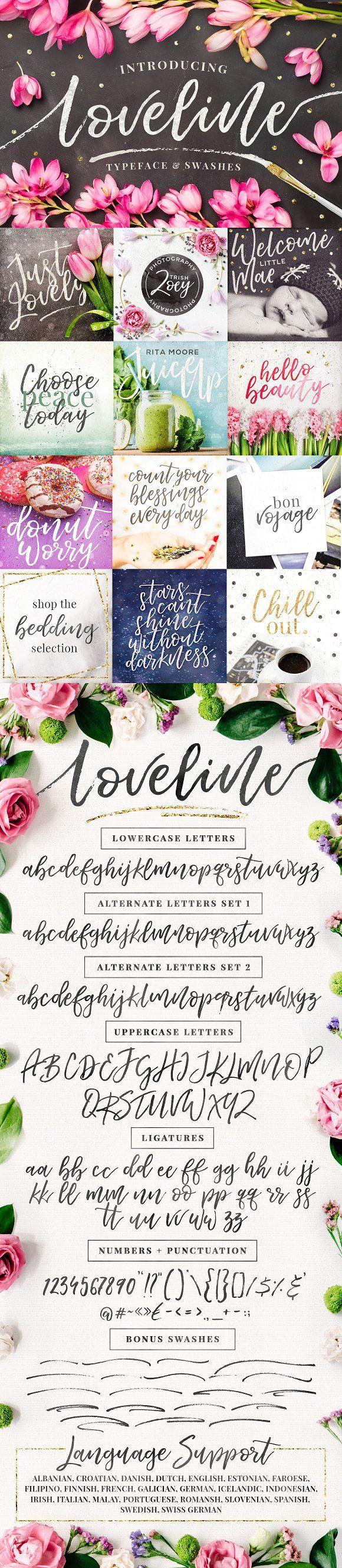 Loveline Brush Script + Swashes by Pink Coffie on @creativemarket