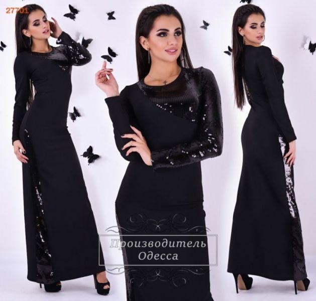 Очаровательное праздничное платье в пол с пайетками черное