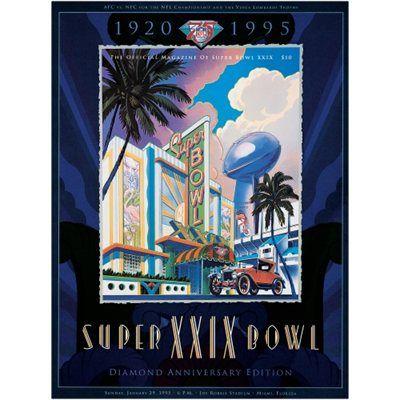 """1995 49ers vs Chargers 22"""" x 30"""" Canvas Super Bowl XXIX Program"""