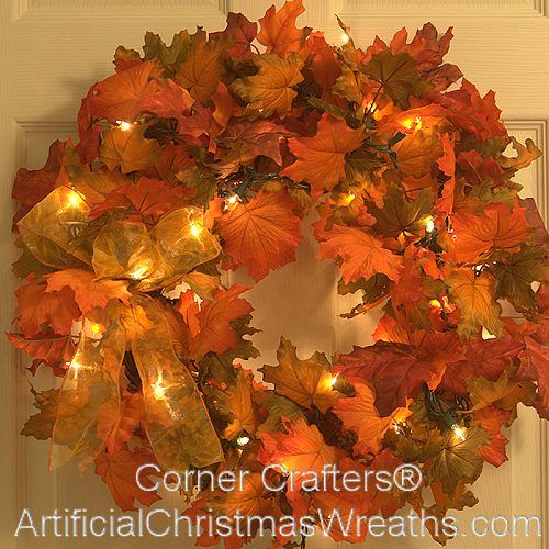Falling Leaves Prelit Fall Wreath  Beautiful, QVC and  ~ 115403_Qvc Thanksgiving Decorations