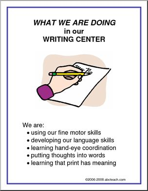 What We Are Doing Sign: Writing Center -
