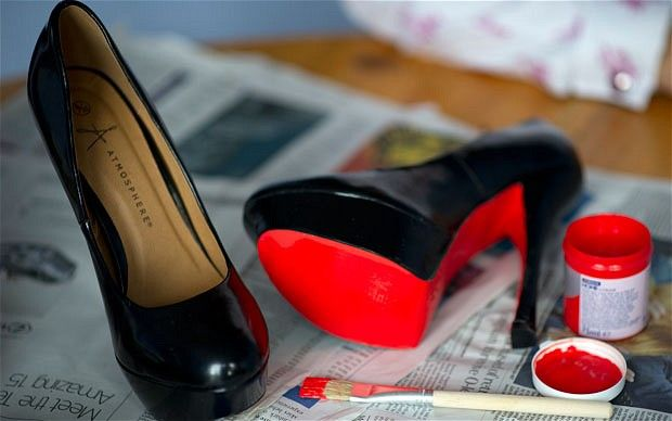 Seeing red: Glenda Cooper applied paint (£1.49) to a pair of Primark shoes (£16). Real Louboutins: £635 - Testing the latest craze in shoes – painting your own Louboutins