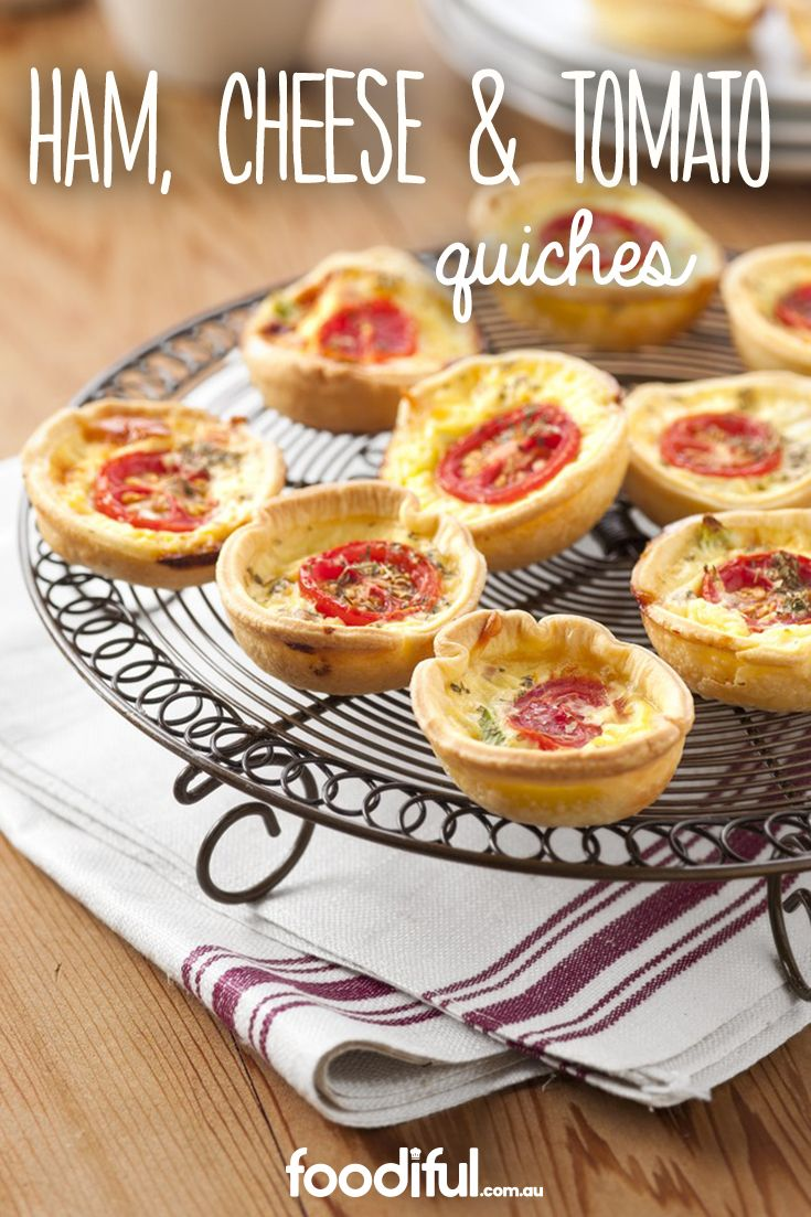 Party-perfect, these mini quiches can be eaten without cutlery (and with wine in hand). They only take 35 minutes to make and are full of tomato, ham, parmesan cheese and herbs. This recipe makes 24 mini quiches.