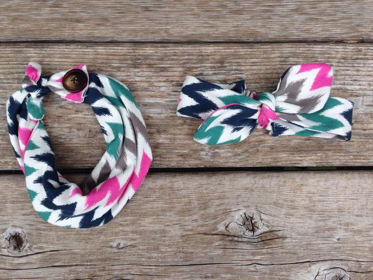 Baby infinity scarf bib + matching tie headband