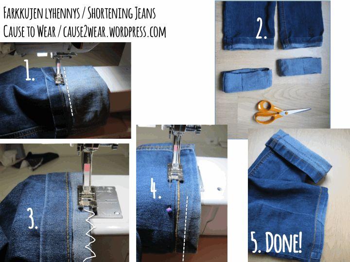 Shortening jeans and keeping the original jeans' hem. Tutorial