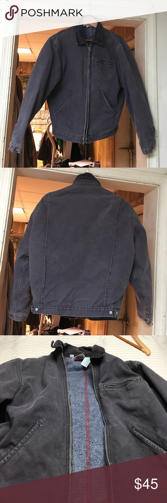 Dickies Canvas Coat Medium Women's dickies coat outside is canvas material size medium no holes zippers all work adjustable snap on the sleeves and bottom of coat Color is a dark gray Dickies Jackets & Coats Utility Jackets