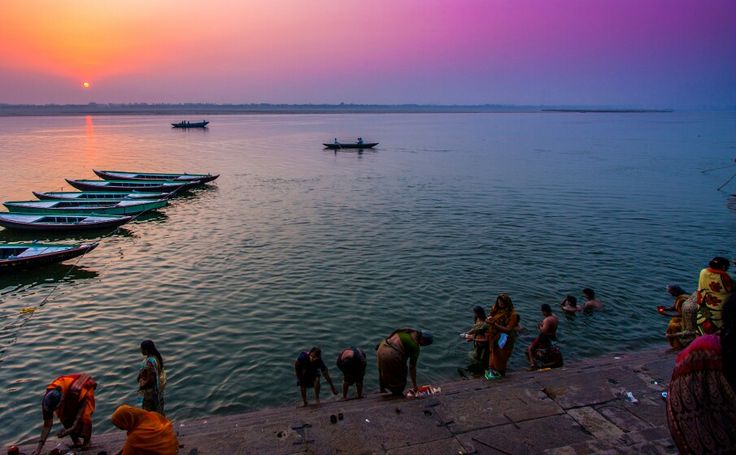 Sunrise over Ganges, seen from Varanasi's stairs.