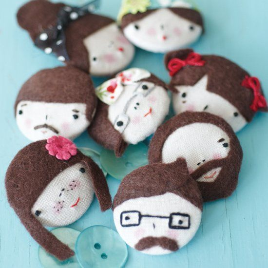 These easy button embroidery faces can be customized to look like your friends, family and co-workers. Too cute!